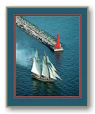 Muskegon Lighthouse & Tall Ship