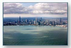 Chicago Skyline from Over Lake Michigan