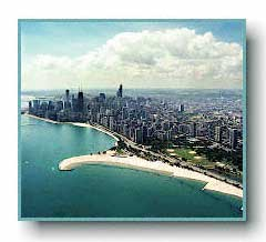 Chicago shoreline showing the Gold Coast