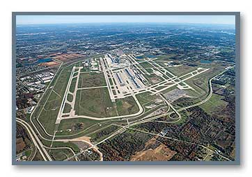 Aerial photo of DTW looking northeast
