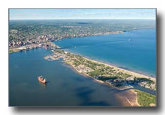 Aerial photo of the Duluth harbor