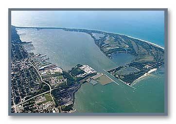 Aerial photo of the harbor at Erie, PA