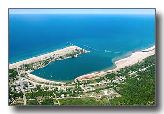 The Grand Marais, MI, harbor on Lake Superior