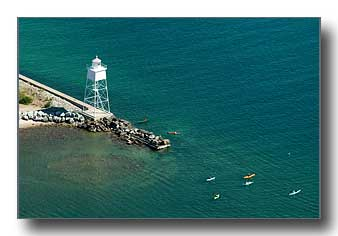 Kayaks at the inner lighthouse at Grand Marais, MI