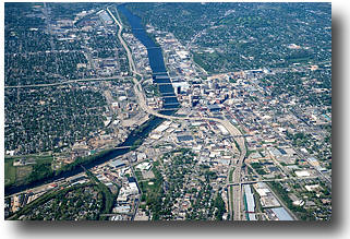 High view of Grand Rapids to the northeast