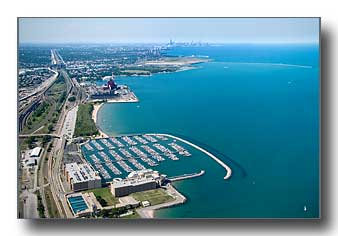 Aerial photo of the Hamond Marina and Chicago skyline