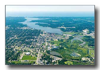 Aerial photo of Holland Michigan from east to west