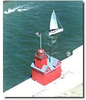 Aerial photo of Big Red and a sailboat at Holland