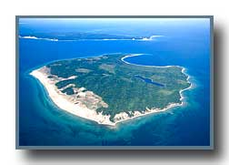 Aerial photo of South Manitou Island in Lake MI
