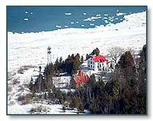 Grand Traverse Lighthouse in winter