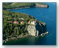 Aerial of Split Rock Castle Lighthouse