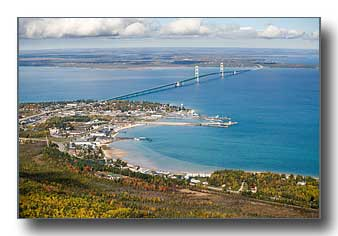 Mackinaw City aerial photo in the fall
