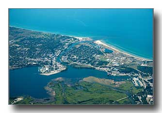 Aerial photo of Manistee, MI looking southwest
