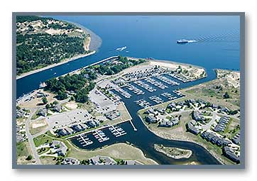 Aerial photo of the Harbour Towne Marina