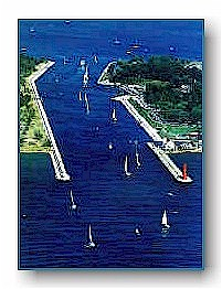 Sailboats in the Muskegon Channel