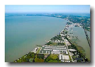 Aerial photo fo the Port Clinton shoreline