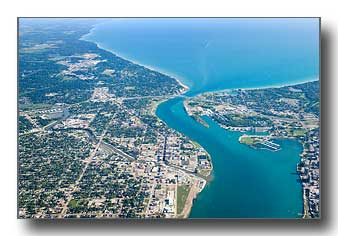 High aerial view of Port Huron