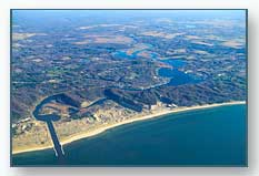 aerial view of Saugatuck in the fall