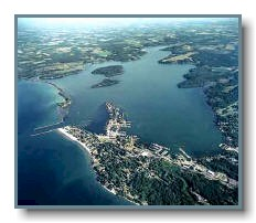 Aerial photo of Sodus Bay looking east