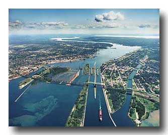 Aerial photo of the Soo Locks looking East