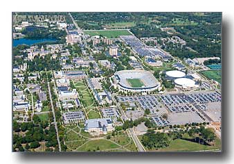 Notre Dame campus aerial photo
