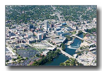 Aerial photo of downtown South Bend