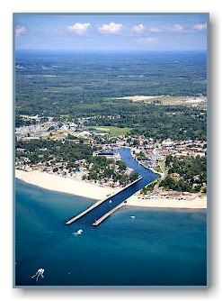 An aerial view of the South Haven channel