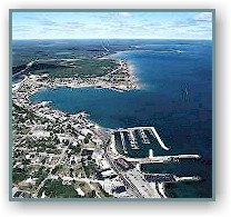 Aerial view of St. Ignace looking north