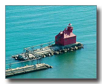 Sturgeon Bay Pier Lighthouse aerial photo