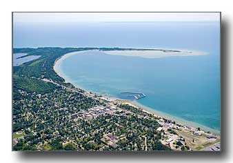 Aerial photo of East Tawas and Tawas Bay