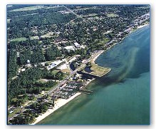 The city of Tawas with Tawas Bay Condominium Marina in the foreground