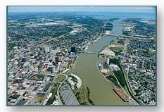 Aerial photo of Toledo and the Maumee River