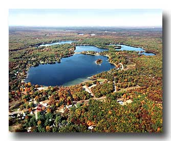 Fall aerial view of Twin Lake