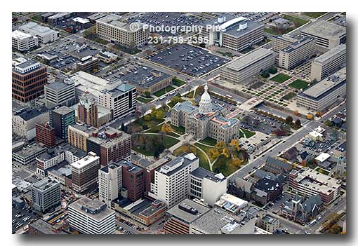Aerial Photo Of Lansing Michigan Showing The Buildings