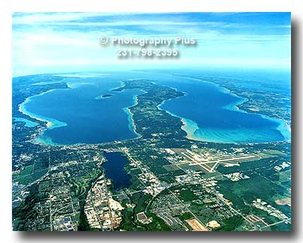 High Aerial View Of Traverse City And Both Arms Of The