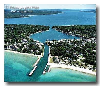 Aerial Photo Of The Harbor At Charlevoix Michigan With A