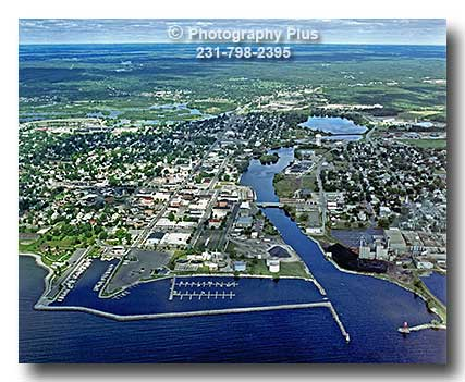 Aerial Photo Showing The Alpena Michigan Skyline With The