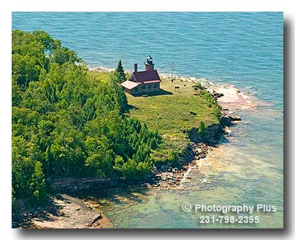 Aerial Photo Of The Sand Island Lighthouse In The Apostle