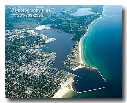 Aerial Photo Of Ludington Michigan From A High Altitude