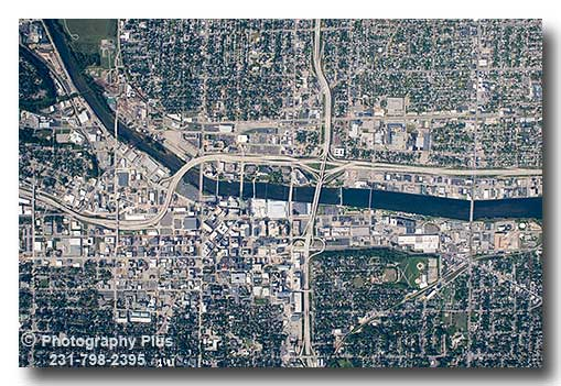 Aerial Photo Map View Of Downtown Grand Rapids Michigan