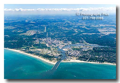 High Aerial View Of St Joseph And Benton Harbor Michigan