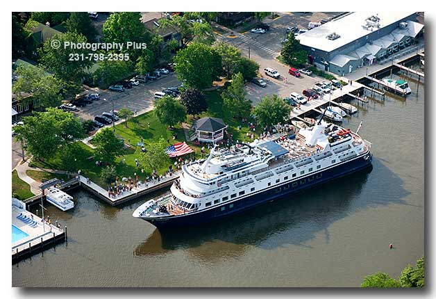Aerial Photo Of The Cruise Ship Yorktown Arriving At Saugatuck MI - Cruise ship yorktown