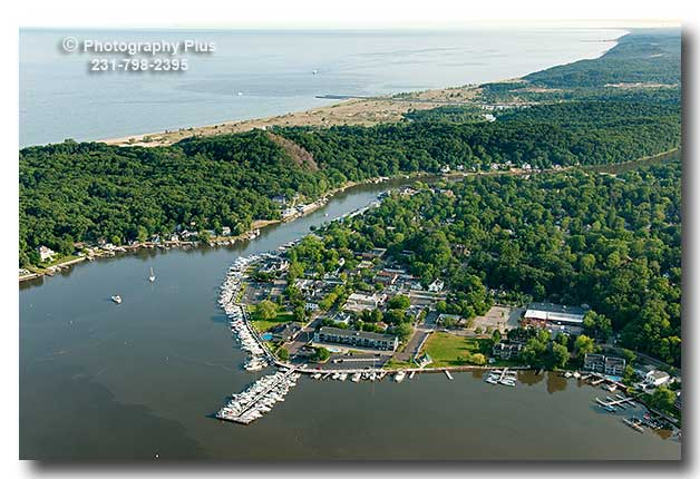 Aerial Photo Of Saugatuck Michigan With Sergeant Marina