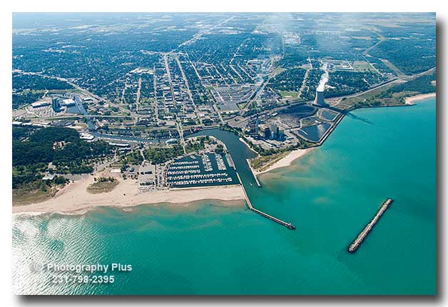 Aerial Photo Of Michigan City Indiana Viewed With Lake