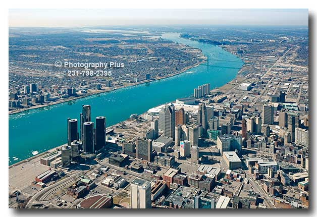 Aerial Photo Of Downtown Detroit And The Detroit River