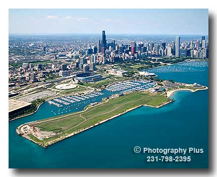 An Aerial View Of Northerly Island Burnham Harbor And