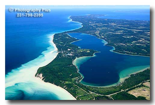 An Aerial Photo Of Lake Leelanau And The Lake Michigan