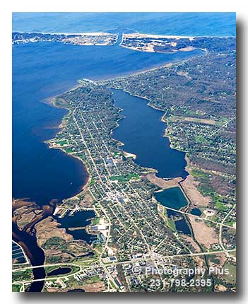 A High Altitude Spring Aerial Photo Of North Muskegon