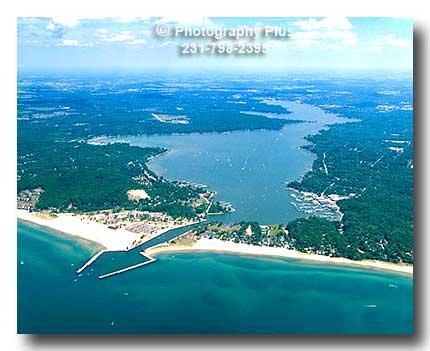 The Holland Michigan Harbor Showing Lake Macatawa And The
