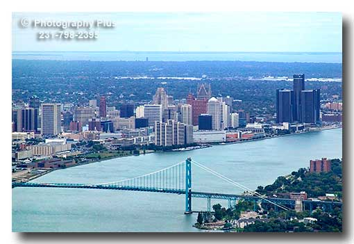 An Aerial Photo Showing The Detroit Skyline With The